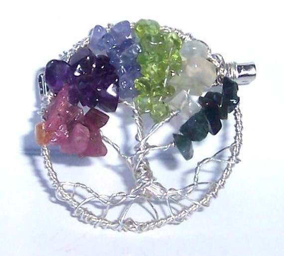 Brooch Pin - Gift for Grandmother - Mother - Grandma - Family Tree with Birthstones - Sterling Silver - Gemstones - personalized gift