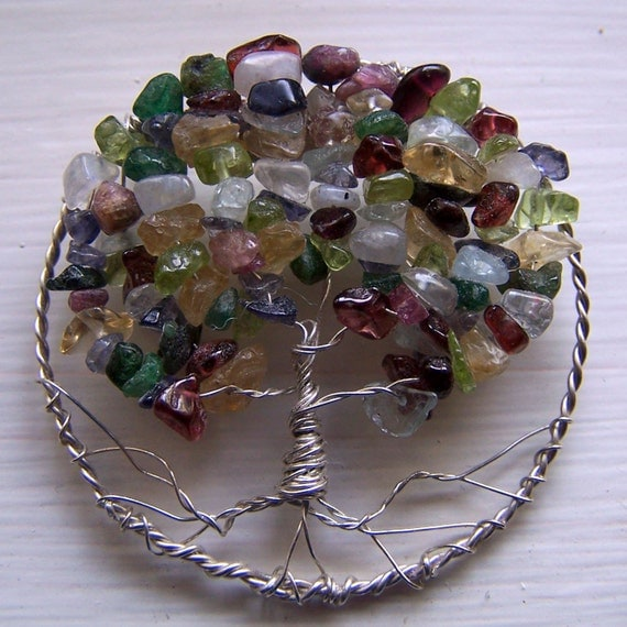 Tree of Life Brooch Pin Emerald Peridot Topaz Citrine Sapphire Moonstone Tourmaline Sterling Silver
