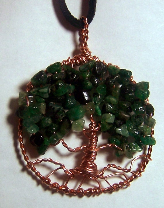 Emerald Tree of Life pendant necklace --  Emerald / Copper circle, black leather cord or copper chain, May birthday birthstone gift