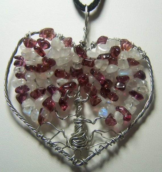 Garnet and Rainbow Moonstone Tree of Life heart pendant necklace, silver, and black suede cord January June birthday birthstone