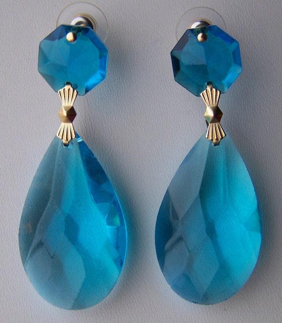 Earrings - Aquamarine - Blue - Large Aquamarine Earrings - Crystal Prisms - 2 1/4 inches - Gold or Silver Tone - Turquoise Sky Blue Aqua