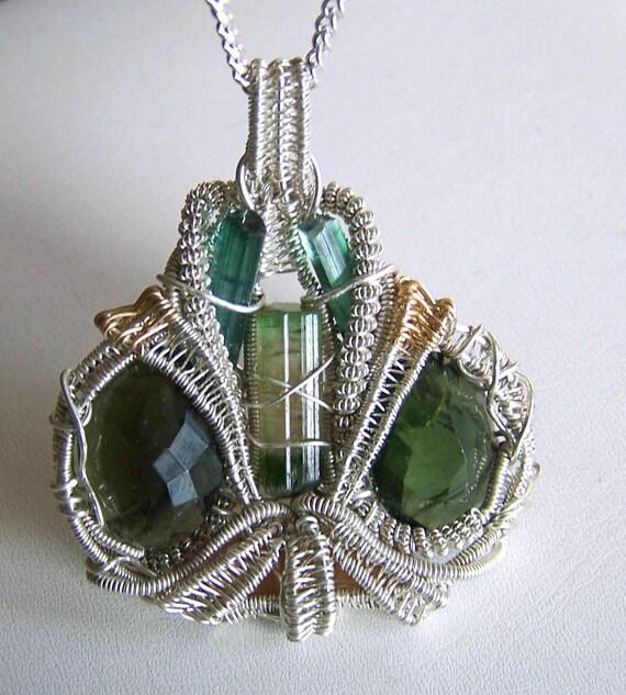 Moldavite Pendant - Crystal wire wrap - Watermelon Tourmaline - Bi Color - necklace - Faceted Moldavite Gemstone - Imperial Topaz