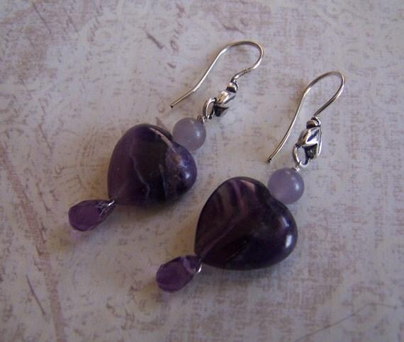Lepidolite Fluorite Amethyst purple  Gemstone Earrings -Heart - STerling SIlver french hook ear wire - Amethyst faceted gemstone briolette