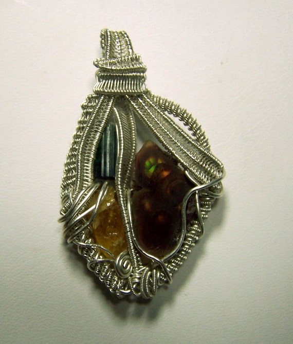 FIre Agate - Yellow Sapphire - Blue Tourmaline - Crystal gem mineral - Sterling Silver - WIre Wrap necklace pendant - mandalarain