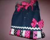 TOO CUTE Minnie denim ribbon bow skirt - M2M Minnie Mouse - 2t - 5 - vacation, cruise - bows available