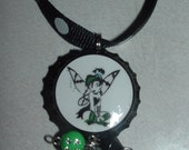 GOTH EMO PUNK TINK NAUGHTY TINKERBELL IN GREEN AND BLACK STRIPE TIGHTS BOTTLECAP NECKLACE