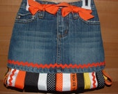 TRICK OR TREAT HALLOWEEN GHOSTS RIBBON SKIRT SKORT OR JEANS YOU CHOOSE 2-10 FREE PERSONALIZED BOTTLECAP NECKLACE