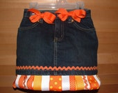 FALL ORANGE HOLIDAY RIBBON SKIRT SKORT OR JEANS YOU CHOOSE I DESIGN FREE PERSONALIZED BOTTLECAP NECKLACE WITH PURCHASE