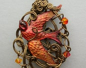 Firebird Wire Pendant -- Sculpted Wire Pendant with Red Flame Colored Bird, Swirling Vintage Bronze Wire, Fire Opal Swarovski Crystals