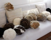 Tribbles - Small Round Fur Balls\/Pillows, 100 percent recycled from vintage coats