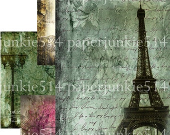 Digital Collage Sheet - Grungy Backgrounds 3 - ACEO, ATC - Buy Any 3 Three Dollar DIigital Items Get 1 Free
