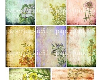 Botanical 1  - ACEO, ATC Collage Sheet- Buy Any 3 Three Dollar DIigital Items Get 1 Free