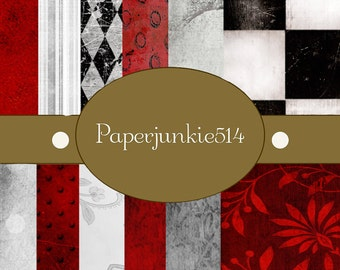 Red Black and White -12x12 -  Digital Scrapbook Papers - BUY Any 3 Three Dollar Digital Items Get 1 Free