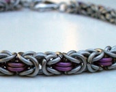 Touch of Pink - Chainmaille Byzantine Bracelet in Titanium