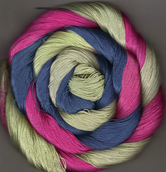 175 yards Hand-dyed Size 10 Cotton Crochet Thread Amabel Colorway
