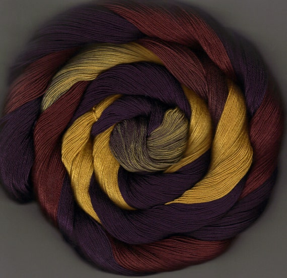 175 yards Hand-dyed Size 10 Cotton Crochet Thread Nyasia Colorway