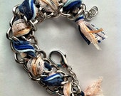 Braided Metals Lace & String Ocean Blues Chunky Chain Bracelet