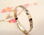 kisses and hugs ring- x and o stamped thin silver band ring-valentines gift