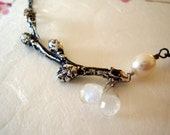 Mother- silver cherry blossom bud branch necklace with pearl and moonstone briolette drops- Mothers day gift
