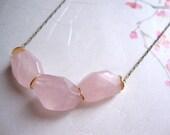 Rose quartz faceted stone long necklace