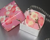 Origami Surprise Pink Sakura Pendant on Silver Ball Chain Necklace Matching Origami Box