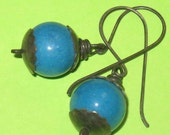Blue Jade Beads with Oxidized Sterling Silver Caps Dangle Earrings