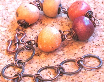 Brick Red, Beige and Rust Ceramic Beads with Handmade Antique Copper Links Bracelet