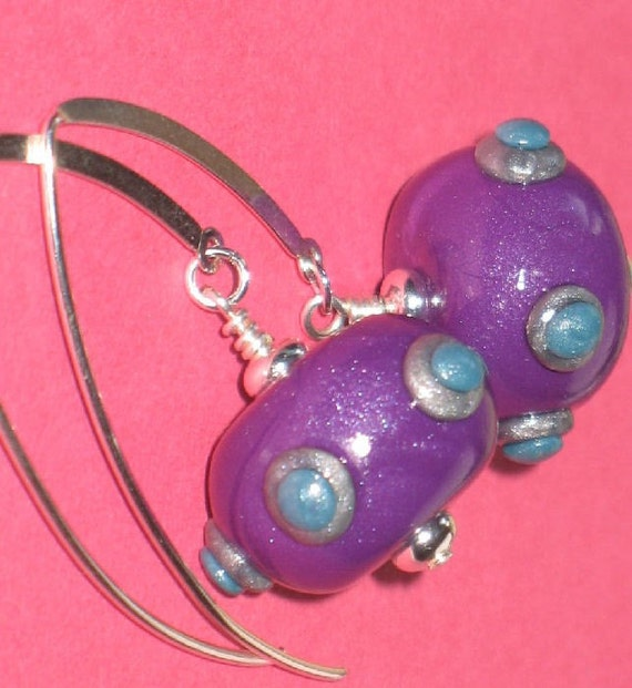 Purple and Turquoise Dotted Polymer Clay Bead Earrings