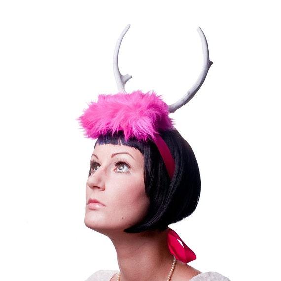 Deer Antler Headband - Pink Faux Fur Shocking Pink - White Pointed Antlers