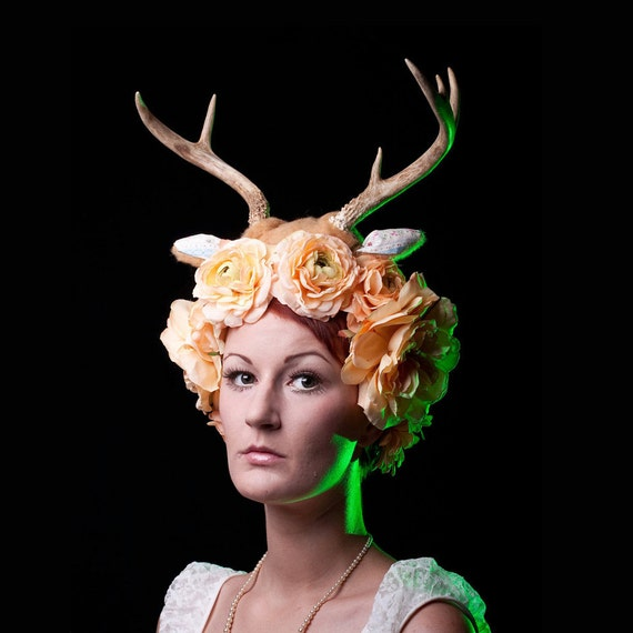 Deer Antler Headband - Creme - 1930s Fabric