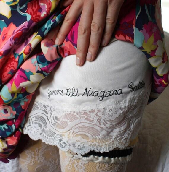 Yours Till Niagara Falls - white -  hand embroidered - full slip - lingerie - medium 34