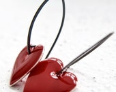 For You Earrings RED - Enamel silver hearts and sterling silver