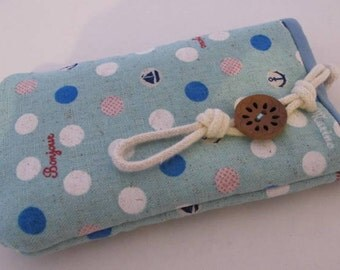 Marine polka dot iPhone/ Samsung mobile pouch wallet