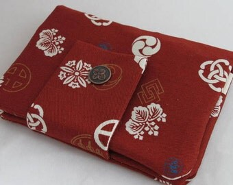 Plum red japanese traditional pattern in crests travel passport wallet/ holder with coin compartment