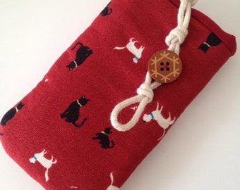 Genuine handmade meow kittens iphone/ Samsung mobile pouch wallet