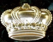 jewelry findings crown puffy brass metal quantity TWO royal queen king princess embellishment stamping