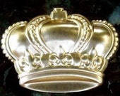 Stamped large crown puffy brass metal quantity one royal queen king princess embellishment stamping