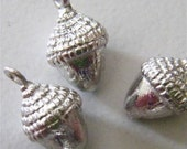 3D Acorn charm  pewter made in america   quantity  two charms