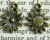 flower charms earring drops  antiqued bronze pendant   quantity four RB7