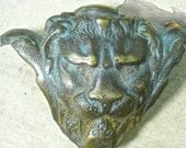 bronze lion head drawer pull vintage