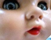 Big rubber  doll head   Vintage doll head with  for parts   shabby tateam  blue eyes sleepy eyes  144