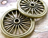 GEARS  Bronze wagon wheel cogs Steampunk supplies  jewelry findings    tires  D1