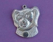charm pewter dog puppy face head pendant large collar tag zne  one