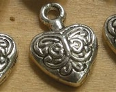 Jewelry charms Heart supplies Valentine supply  14x10mm  quantity  eight  c6