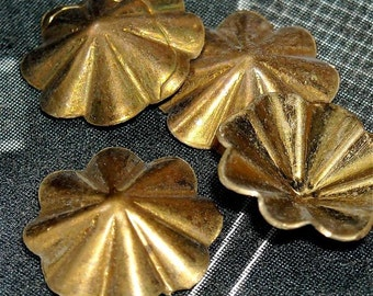 vintage brass findings stampings  nyc7 quantity four  round ribbed floral