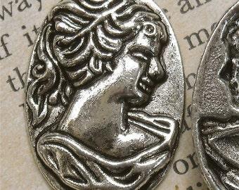 jewelry findings pendant woman face roman woman greek   profile cameo charm   nyb8  steampunk  supplies quantity 3