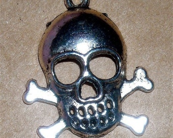 goth supplies skull and cross bones, tibetan silver charm  large halloween pirate quantity  two charms  TS1