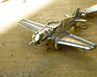 pewter charm supplies airplane  air plane charm pennant 3d pewter jewelry findings quantity one  wv3
