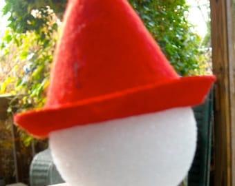 Red Elf Doll top hat felt 2 1/4 x3 inches steampunk doll hat  snowman doll making supplies