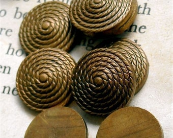 very old vintage brass findings stampings flat back domed front swirl ornate heavy nyc7  quantity  two
